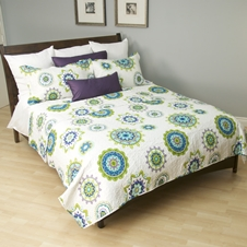 Blue Disks Coverlet