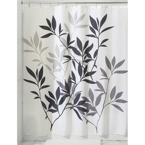 Leaves In Black Grey Shower Curtain Daniadown Bed Bath Home