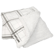 Grey Plaid Sherpa Throw