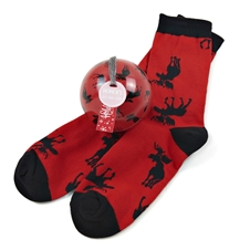 Women's Moose on Red (Sock in a Ball)