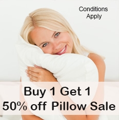 Buy 1 Get 1 at 50% off Pillow Sale