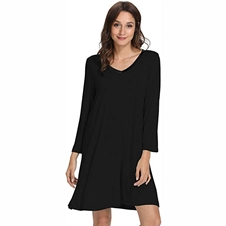 Black Bamboo Long Sleeve Nightdress