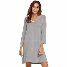 Grey Bamboo Long Sleeve Nightdress