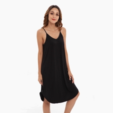 Black Bamboo Spaghetti Dress Sleepwear