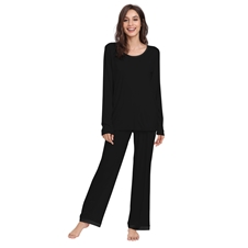 Black Bamboo Long Sleeve PJ's