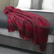 Cranberry Mohair Wool Throw by Cushendale