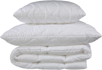 pillow, duvets, stacked on white